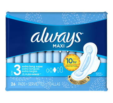 Maxi Pads Extra Long with Wings, 26 units, Super, Size 3, Unscented