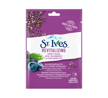 Image of product St. Ives - Revitalizing Sheet Mask, 1 unit, Acai, Blueberry & Chia Seed Oil