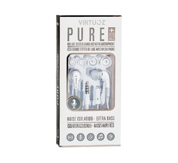 Pure Plus Deluxe Stereo Earbuds with Microphone, 1 unit