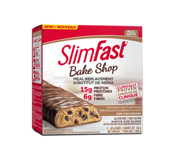 Image of product SlimFast - Bake Shop Meal Replacement, 5 x 60 g, Chocolatey Crispy Cookie Dough