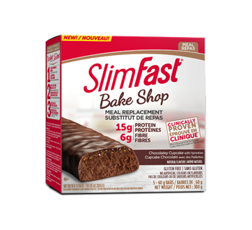 Image of product SlimFast - Bake Shop Meal Replacement, 5 x 60 g, Chocolatey Cupcake with Sprinkles