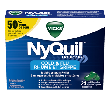 Image of product Vicks - NyQuil Cold & Flu Multi-Symptom Relief LiquiCaps, 24 units
