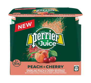 Perrier & Juice, 6 x 330 ml, Peach and Cherry