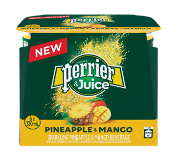 Perrier & Juice, 6 x 330 ml, Pinapple and Mango