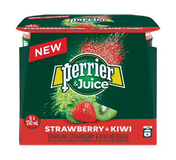 Perrier & Juice, 6 x 330 ml, Strawberry and Kiwi