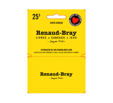 $25 Renaud-Bray Gift Card, 1 unit