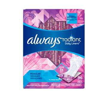 Radiant Daily Liners Regular Unscented Wrapped, 96 units