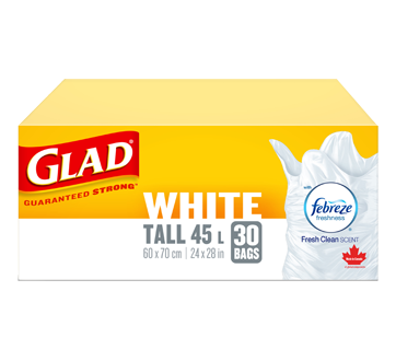 Glad Tall White Garbage Bags, Febreze Fresh Scent, 30 units