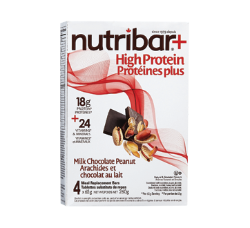 Image of product Nutribar - High Protein Meal Replacement Bars, 4 units, Milk Chocolate Peanut