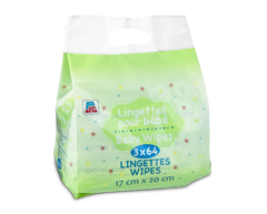 Image of product PJC - Baby Wipes, 3 x 64 wipes