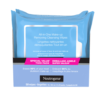All-in-one Make-up Removing Cleansing Wipes, 2 x 25 units