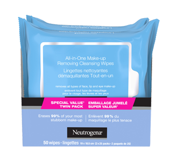 Image 8 of product Neutrogena - All-in-one Make-up Removing Cleansing Wipes, 2 x 25 units