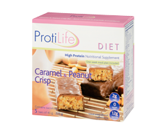 Image of product ProtiLife - Diet Protein Nutritional Supplement, 5 x 45 g, Peanut and Caramel Crisp