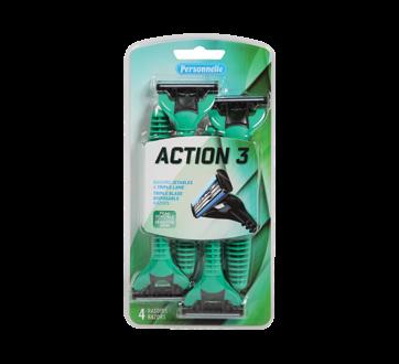 Action 3 Men 3 Blade Disposable Razor, 4 units