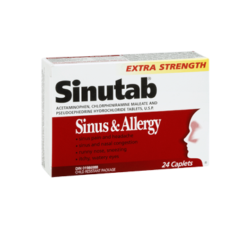 Image 2 of product Sinutab - Extra Strength Sinus & Allergy Caplets, 24 units