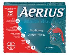 Image of product Aerius - Aerius Allergies Desloratadine Tablets 5 mg, 20 units