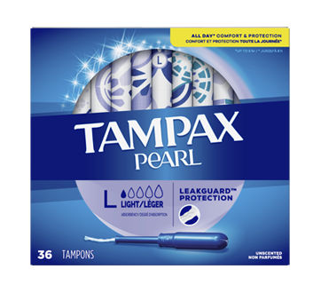 Pearl Plastic Tampons Light Absorbency Unscented, 36 units