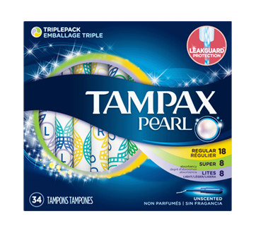 Image of product Tampax - Tampax Pearl Plastic Tampons Triple Pack, 34 units