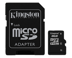Image of product Kingston - Micro SDHC Card 8 Gb, 1 unit