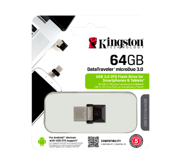 DataTraveler 64GB microDuo USB 3.1 + Type-C Flash Drive, 1 unit