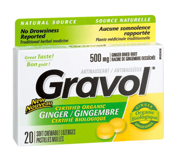 Image of product Gravol - Chewable Lozanges, 20 units, Ginger
