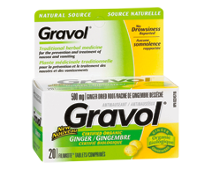 Image of product Gravol - Natural Source Tablets, 20 units, Ginger