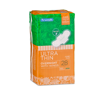 Ultra-Thin Pads with Tabs, 28 units, Super Overnight