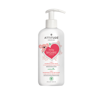 Image of product Attitude - Baby Leaves 2-In-1 Natural Shampoo and Body Wash, 473 ml, Orange and Pomegranate