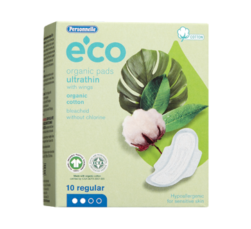 Eco organic Pads Ultrathin with Wings, 10 units, Regular