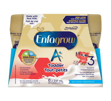 A+ Toddler Nutritional Drink Ready to Drink Bottles, Milk, 6 units