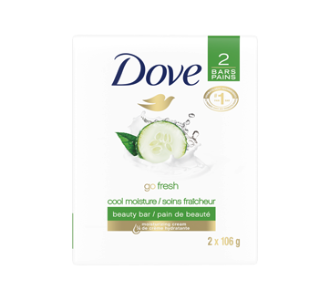 Image of product Dove - Cool Moisture Cucumber and Green Tea Beauty Bar, 2 units