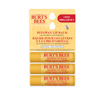 100% Natural Moisturizing Lip Balm, Original Beeswax, 3 units