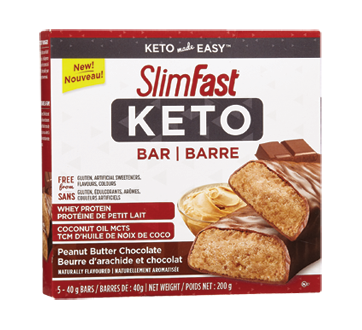 Image of product SlimFast - Keto Bars, 5 x 42 g, Peanut Butter Chocolate