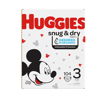 Snug & Dry Diapers, 104 units, Size 3