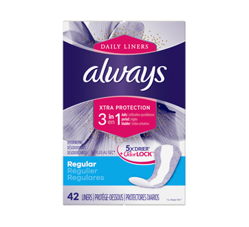 Xtra Protection 3-in-1 Daily Liners, Unscented, 42 units, Regular
