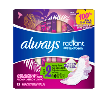 Radiant Pads, Scented, Size 2, 13 units, Heavy Flow