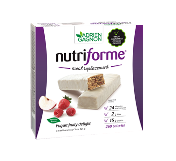 Image of product Adrien Gagnon - Nutriforme Meal Replacement Bars, 5 x 65 g, Fruity Delight and Yogurt