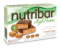Image of product Nutribar - High Protein Meal Replacement Bars, 5 x 65 g, Caramel Nougat