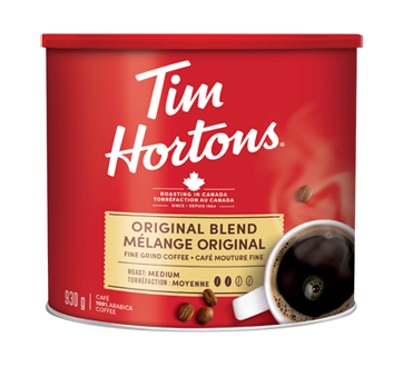 Image of product Tim Hortons - Fine Ground Coffee Can, 930 g, Original