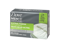 Image of product Dove Men + Care - Extra Fresh Invigorating Formula Body & Face Bar, 2 x 113 g
