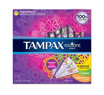 Image of product Tampax - Radiant Plastic Triplepack Tampons Regular/Super/Super Plus Absorbencies Unscented, 32 units