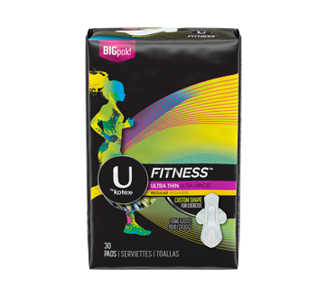 Fitness Ultra Thin Pads with Wings, 30 units, Regular Absorbency, Unscented