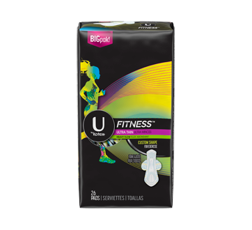 Fitness Ultra Thin Pads with Wings, 26 units, Heavy Absorbency, Unscented