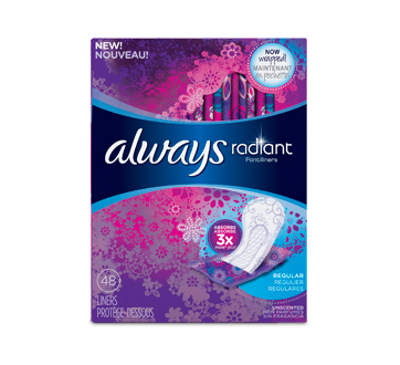 Radiant Pantiliners Regular Wrapped , 48 units, Unscented