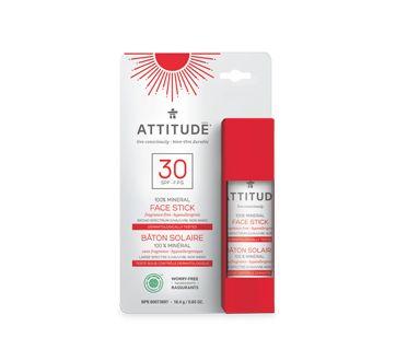 Image of product Attitude - 100% Mineral Face Stick SPF 30, 18.4 g, Fragrance Free