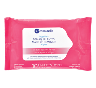 Make-Up Remover Wipes Face, Eyes & Lips, 10 units