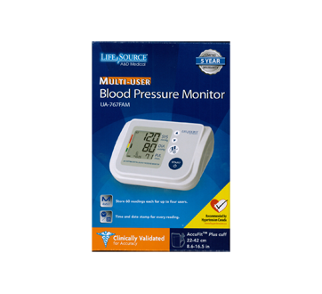 Image of product LifeSource - Blood Pressure Monitor UA-767FAM 4 Users, 1 unit