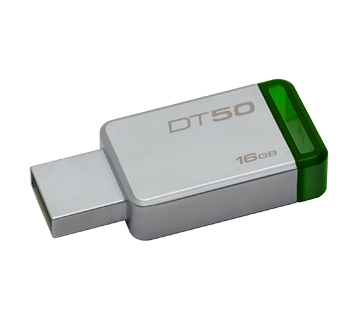 DataTraveler 50 USB Flash Drive 3.0 16GB, 1 unit, Metal and Green
