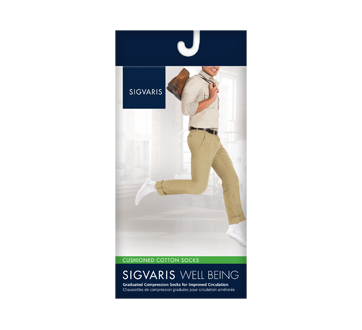 Image of product Sigvaris - Cushioned Cotton for Men 182 , Calf, size B, Black