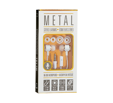 Metal Earbuds with Microphone, 1 unit, White and Gold